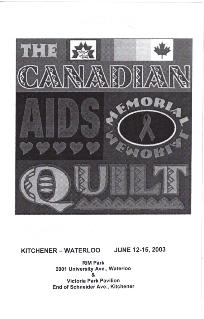 Canadian AIDS Memorial Quilt 2003