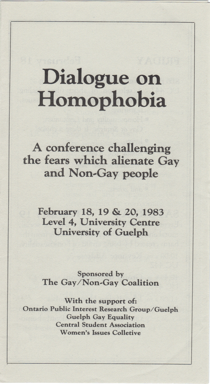 Dialogue On Homophobia Guelph 1983 Feb.